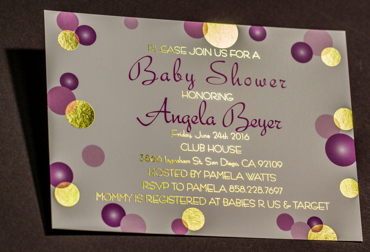 Baby Shower Invitation Printed with Spot Gold