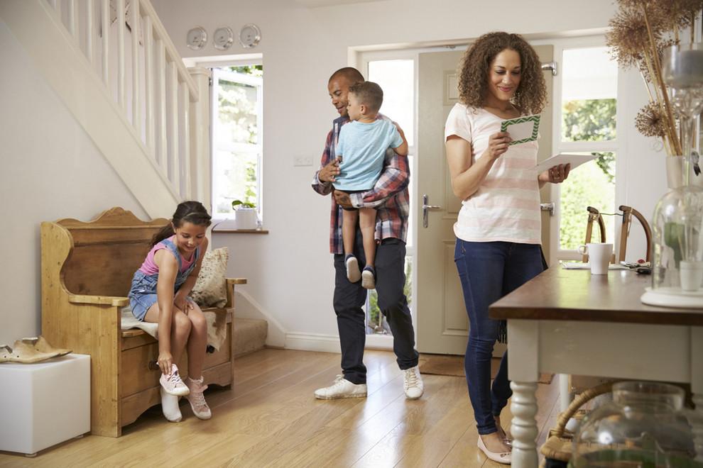 Homeowner reading flyer